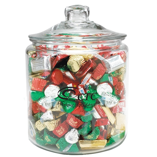 Personalized Half Gallon Glass Jar / Hershey's (R) Holiday Mix