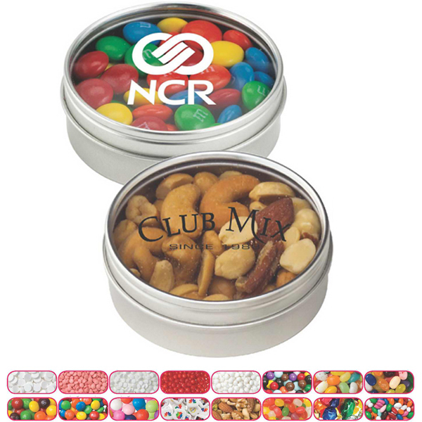 Promotional Small Round Window Tin with Fresh Gem Mints