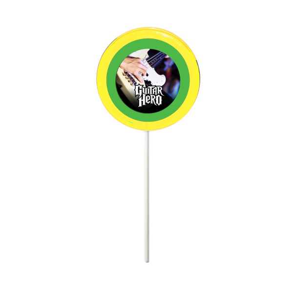Customized Yellow Circle Fun Size Price Buster Lollipop