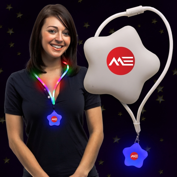 Promotional Star Light Up LED Glow Lanyard Necklace