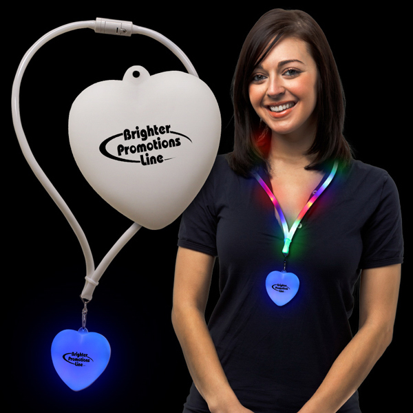 Printed Heart Light Up Lanyard Necklace
