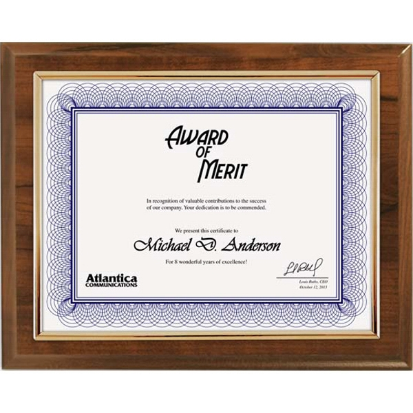 Printed Cherry Certificate Plaque with Gold Frame