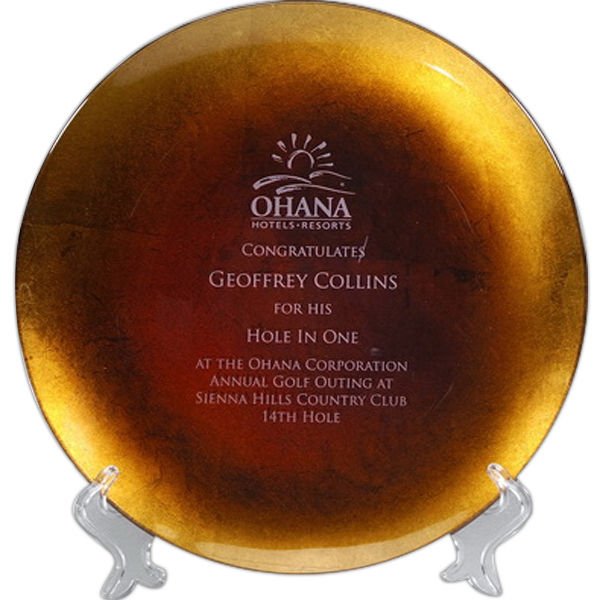 Custom Athens Gold Leaf Plate Award