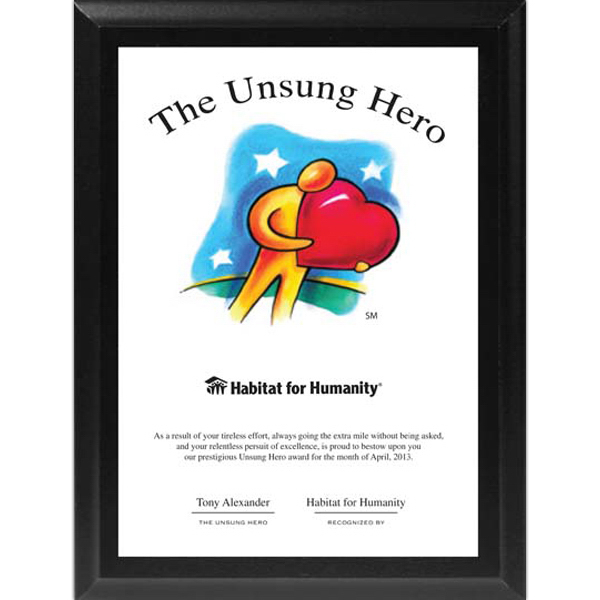 Customized Unsung Hero (TM) Ebony Plaque with Sublimatable Plate