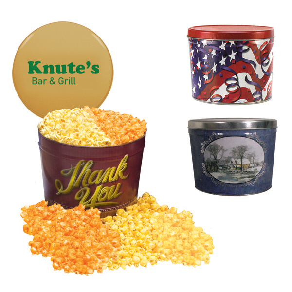 Imprinted Designer 2 Gal. Popcorn Tin-Two Flavor, Flag and Streamers