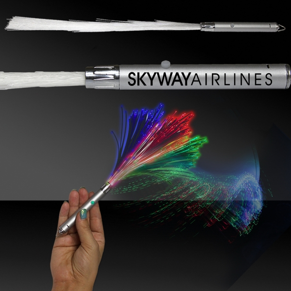 "Custom 14"" Fiber Optic Light Up Glow LED Wand with Silver Handle"
