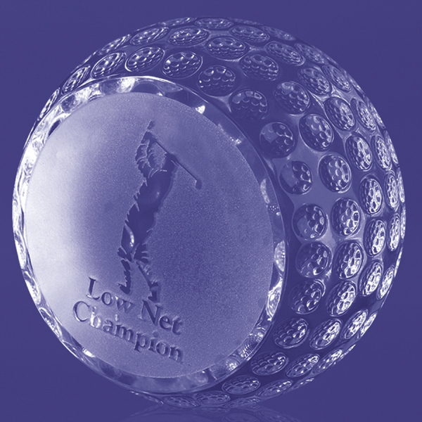 Personalized Trafford Flat Side Golf Ball Trophy 3 3/4""