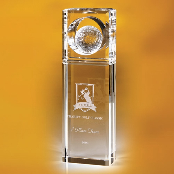 Printed Timblin Rectangular Golf Top Trophy 8 1/2""