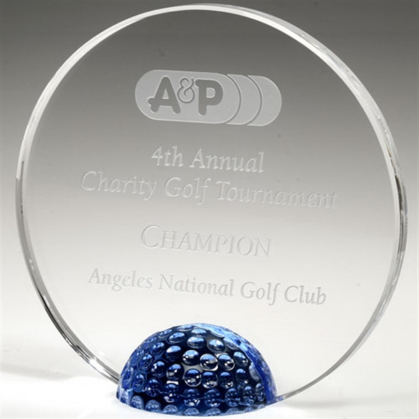 Customized Tioga Blue Half Golf Ball Award 5 1/2""