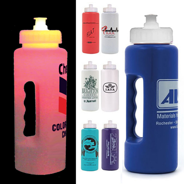Printed Strobe 32 oz grip bottle with push 'n pull cap