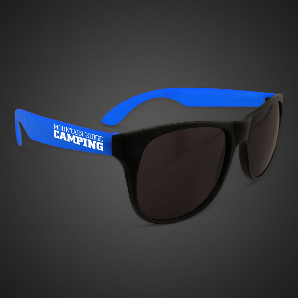 Promotional Neon Sunglasses with Blue Arms