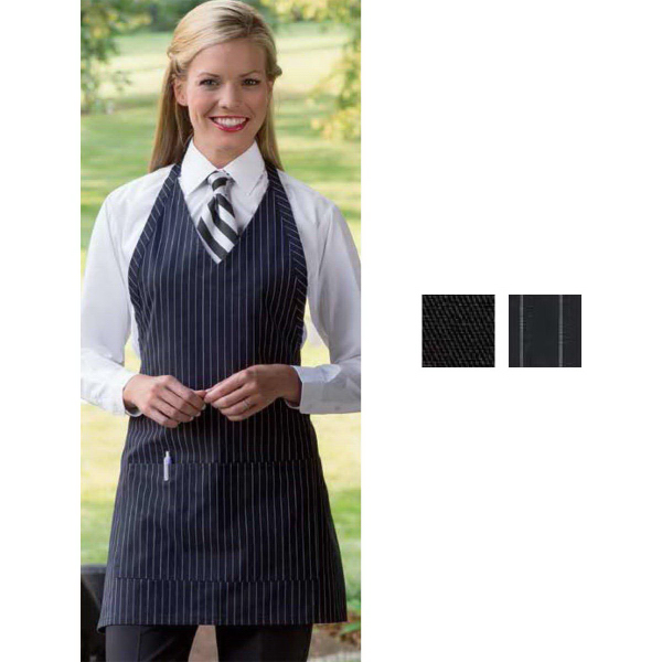 Promotional Formal Pinstripe V-Neck Apron