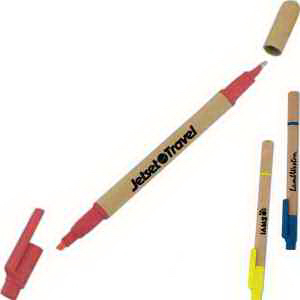 Printed Targetline Eco Paper Barrel Highlighter/Pen