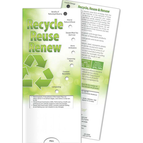 Printed Pocket Slider - Recycle, Reuse, Renew