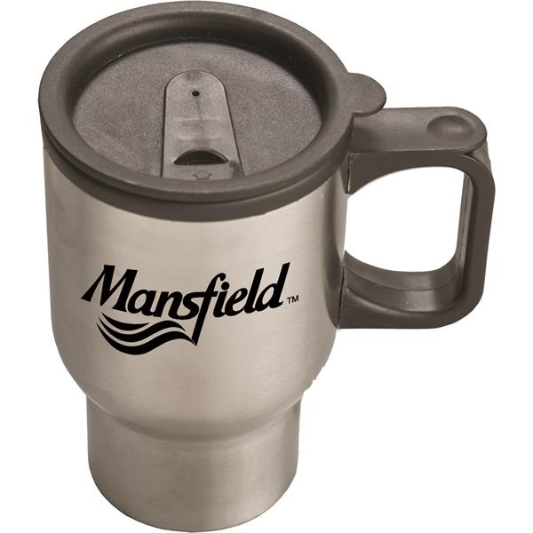 Promotional 16 oz. Stainless Steel Sculptured Travel Mug