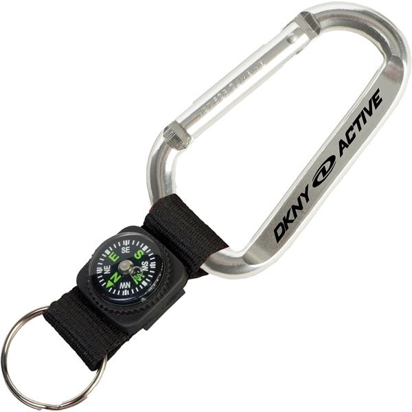 Imprinted Carabiner With Compass Key Tag
