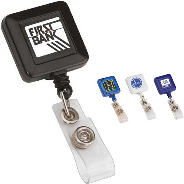 Personalized Square Retractable Badge Holder
