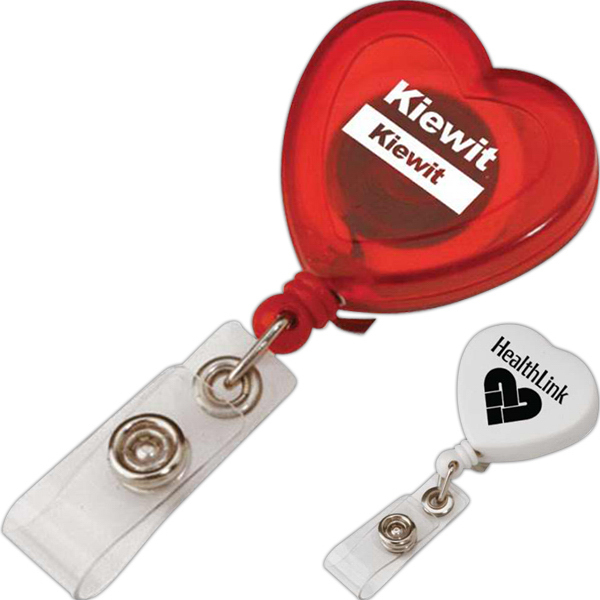 Personalized Heart Shaped Retractable Badge Holder