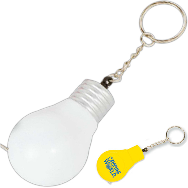 Personalized Light Bulb Tape Measure Key Tag