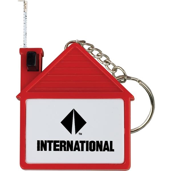 Imprinted House Tape Measure with Release Button and Key Tag