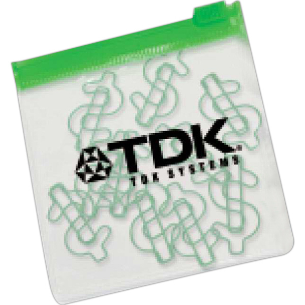 Printed Dollar Paper Clips in Clear Pouch with Color Trim