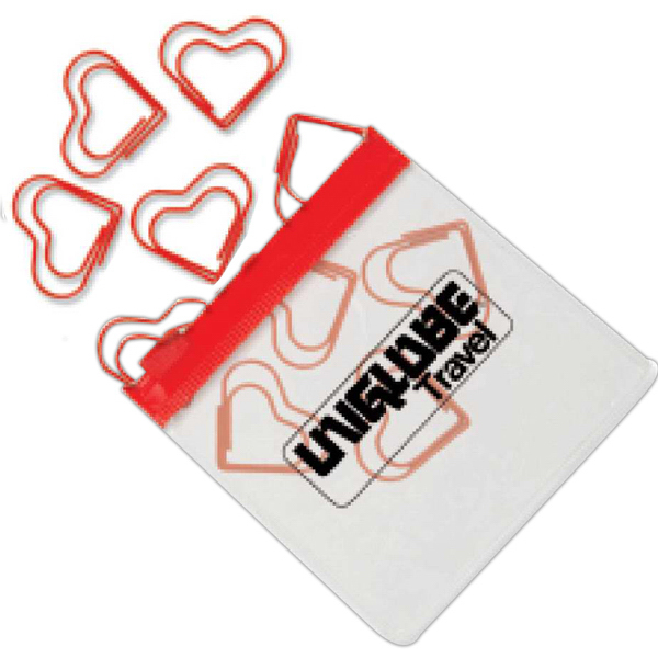 Promotional Heart Paper Clips in Clear Pouch with Color Trim
