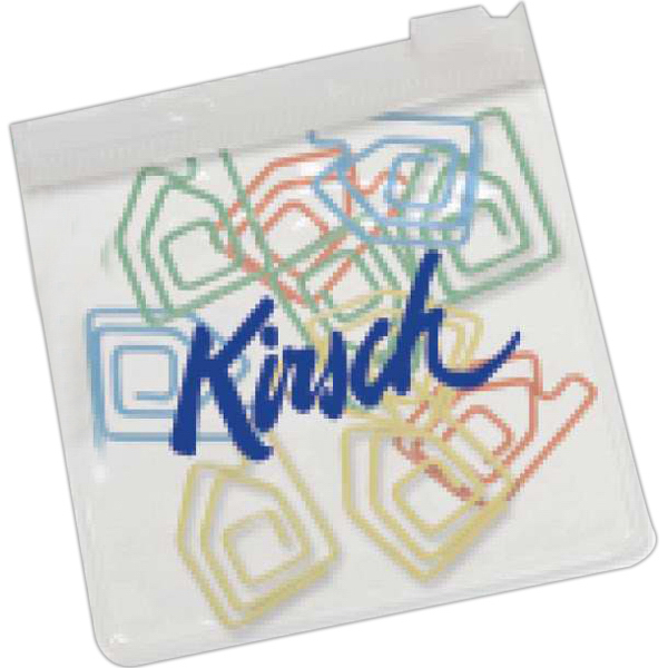 Customized House Paper Clips in Clear Pouch with Color Trim