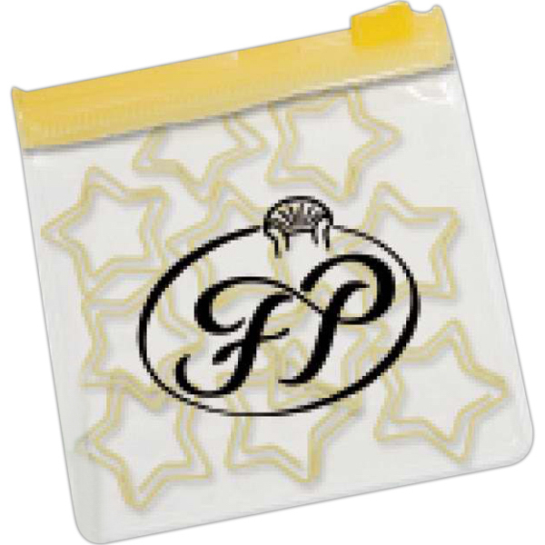 Custom Star Paper Clips in Clear Pouch with Color Trim