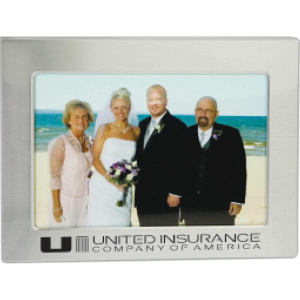 "Imprinted Targetline 4"" x 6"" Sleek Border Photo Frame"