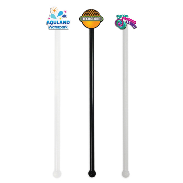 Promotional Stir Sticks With Custom Shape Acrylic Emblem