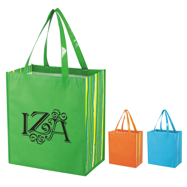 Custom Shiny Laminated Non-Woven Tropic Shopper Tote Bag