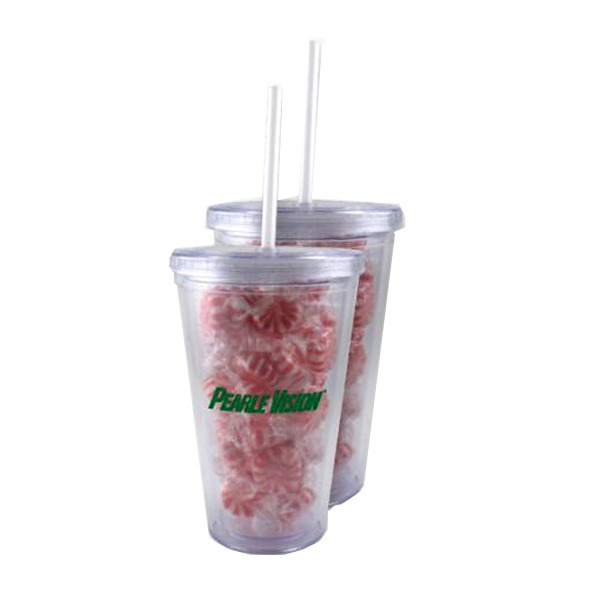 Imprinted Starlight Mints In A 16 oz. Clear Acrylic Tumbler