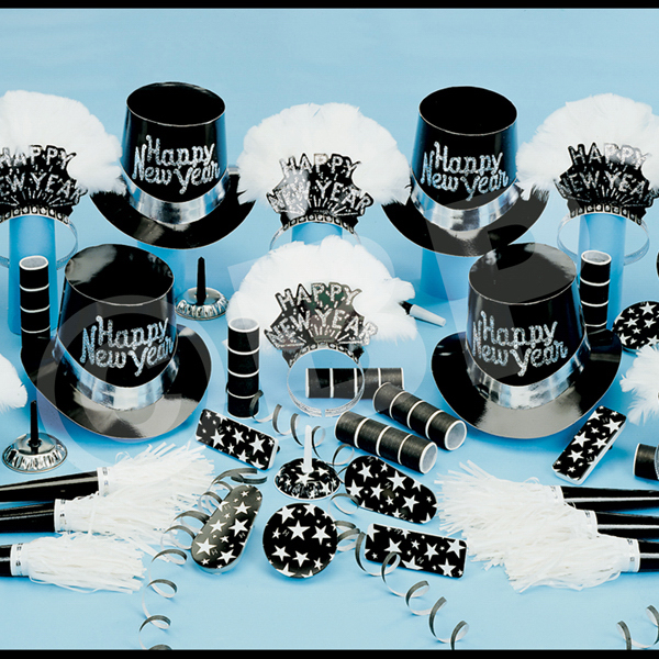 Personalized Grand Silver New Year's Eve Party Kit for 50
