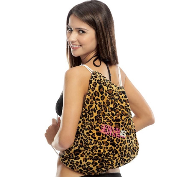 Imprinted Leopard Print Beach Towel with Self Tote Bag