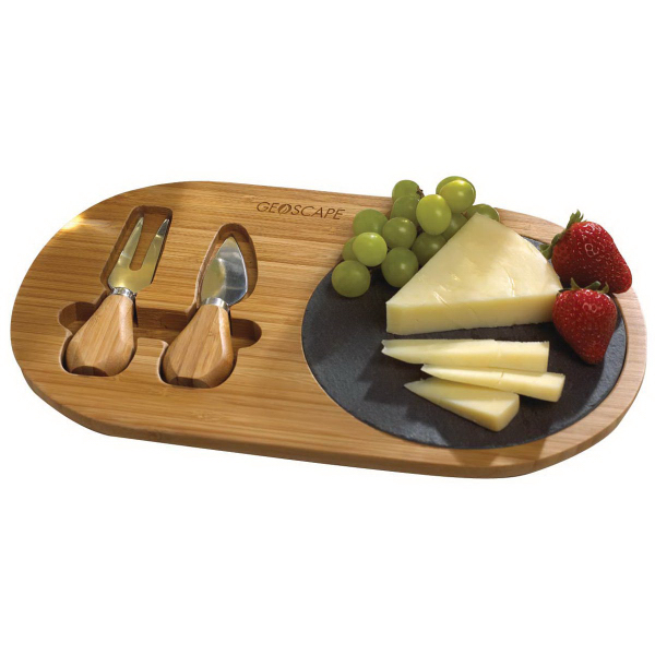 Custom Bamboo and Slate Cheese Set