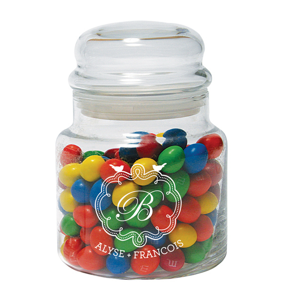 Custom 16 oz. Glass Candy Jar with Bubble Top Lid - Mega Special