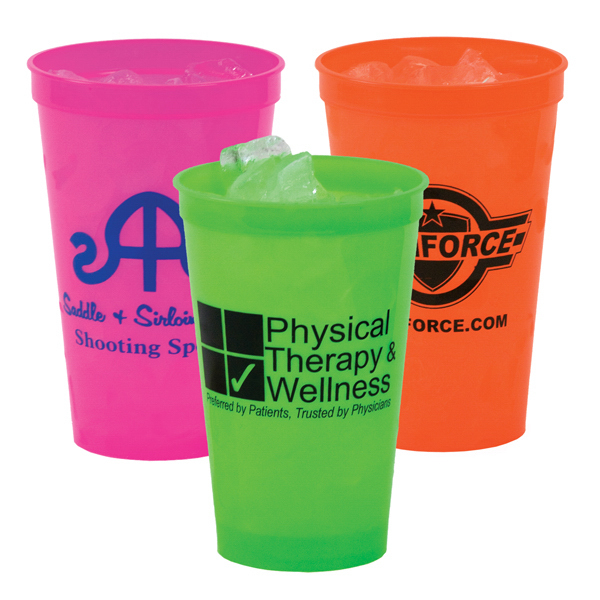 Imprinted 22 oz. Smooth Plastic Stadium Cup, Neon Colors -Mega Special