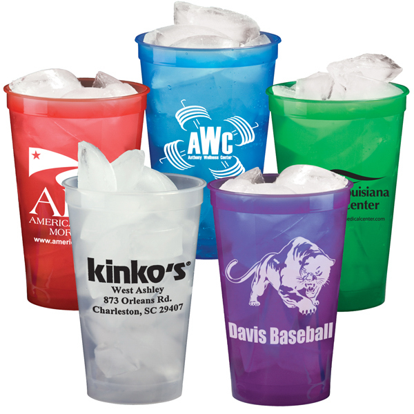 Customized 22 oz. Smooth Plastic Stadium Cup, Translucent -Mega Special