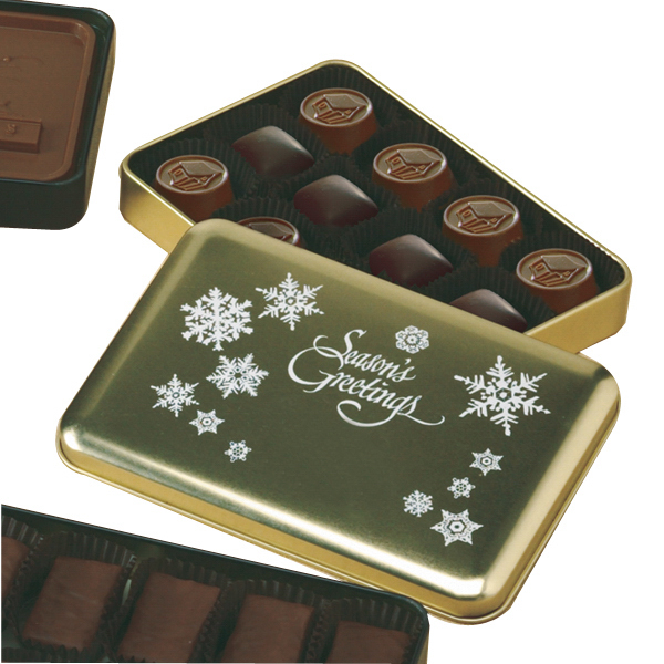 Custom Imprinted One of a Kind Chocolate, Fruit & Nuts Trio Tin