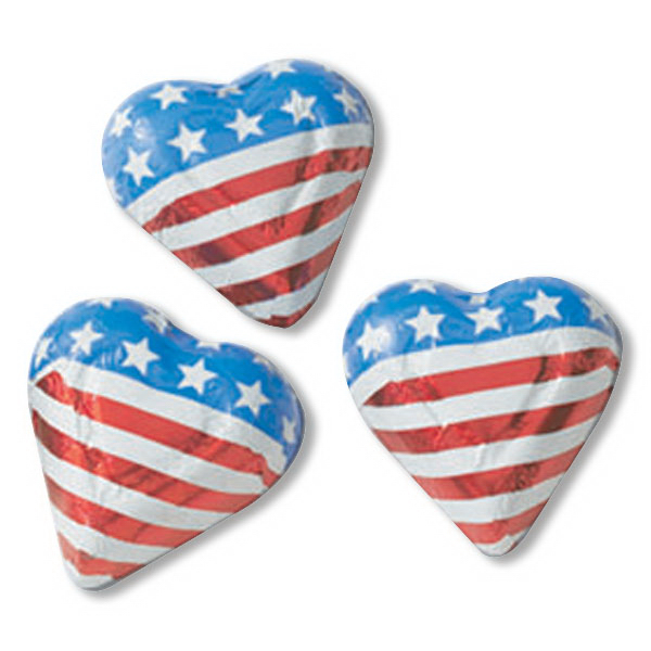 Imprinted Foil Wrapped Chocolate Mini Flag Hearts