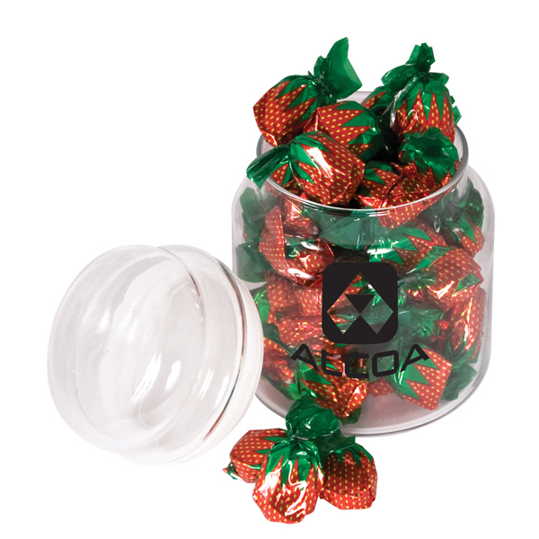 Customized Round glass candy jar filled with delicious favorites