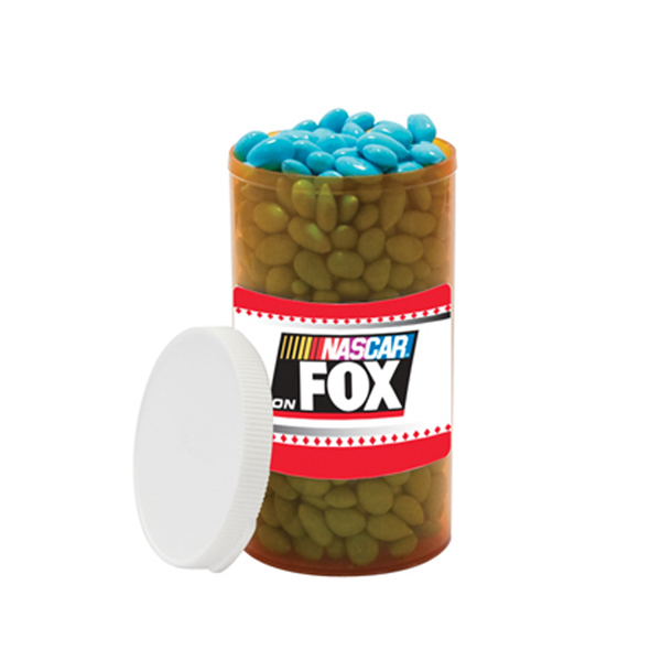 Custom Assorted Jelly Beans Candy in large label pill bottle