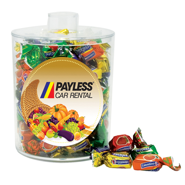 Printed Candy in snack jar acrylic container