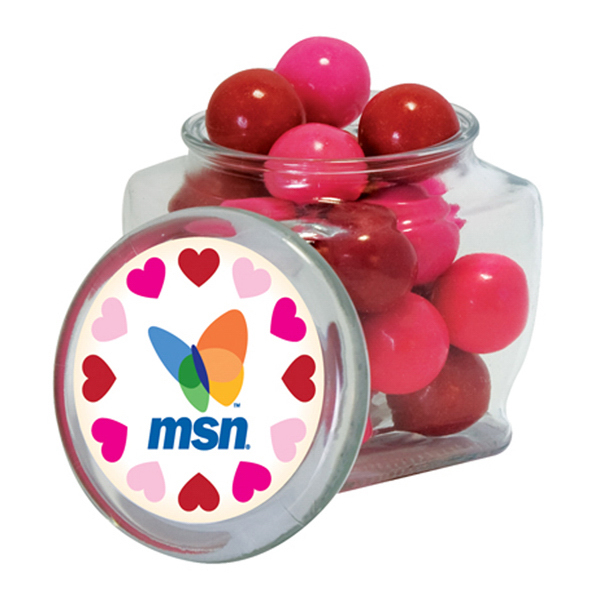 Custom Candy Chocolate Buttons in reusable glass spice jar