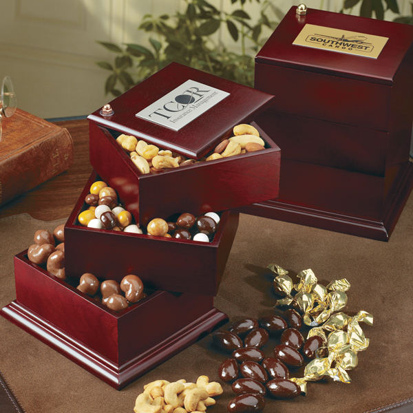 Imprinted Mahogany finished multi drawer box with confections
