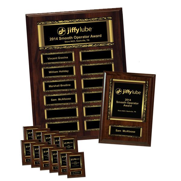 Printed Walnut Finish 12-Plate Scroll Border Plaque