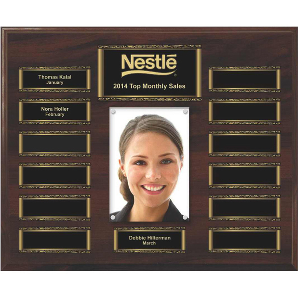 Personalized Walnut Finish 13-Plate Scroll Border Photo Plaque