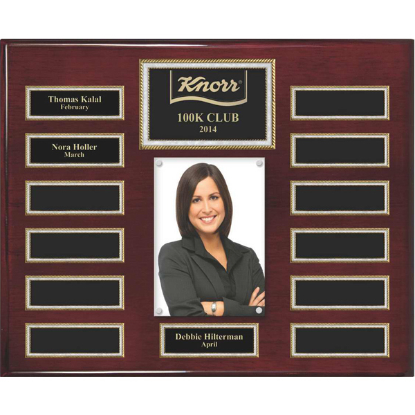 Imprinted Rosewood Piano Finish 13-Plate Pearl Border Photo Plaque