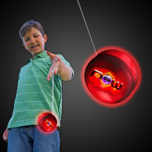 "Imprinted 2"" White Plastic Light Up YoYo with Red Glow LEDs"