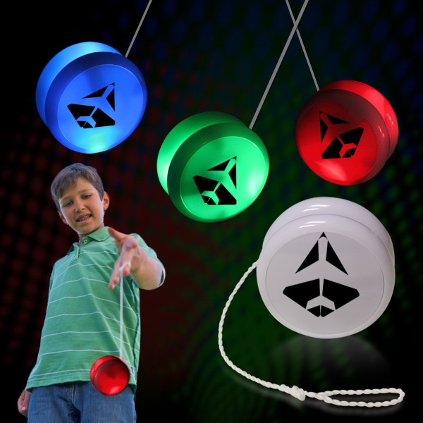 "Imprinted 2"" White Plastic Light Up YoYo with Blue Glow LEDs"